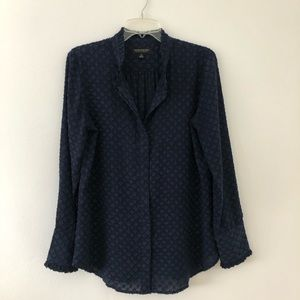 Banana Republic. Long sleeve blouse top blue black